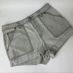 FREE PEOPLE Gray Folded Hem Shorts High Waist